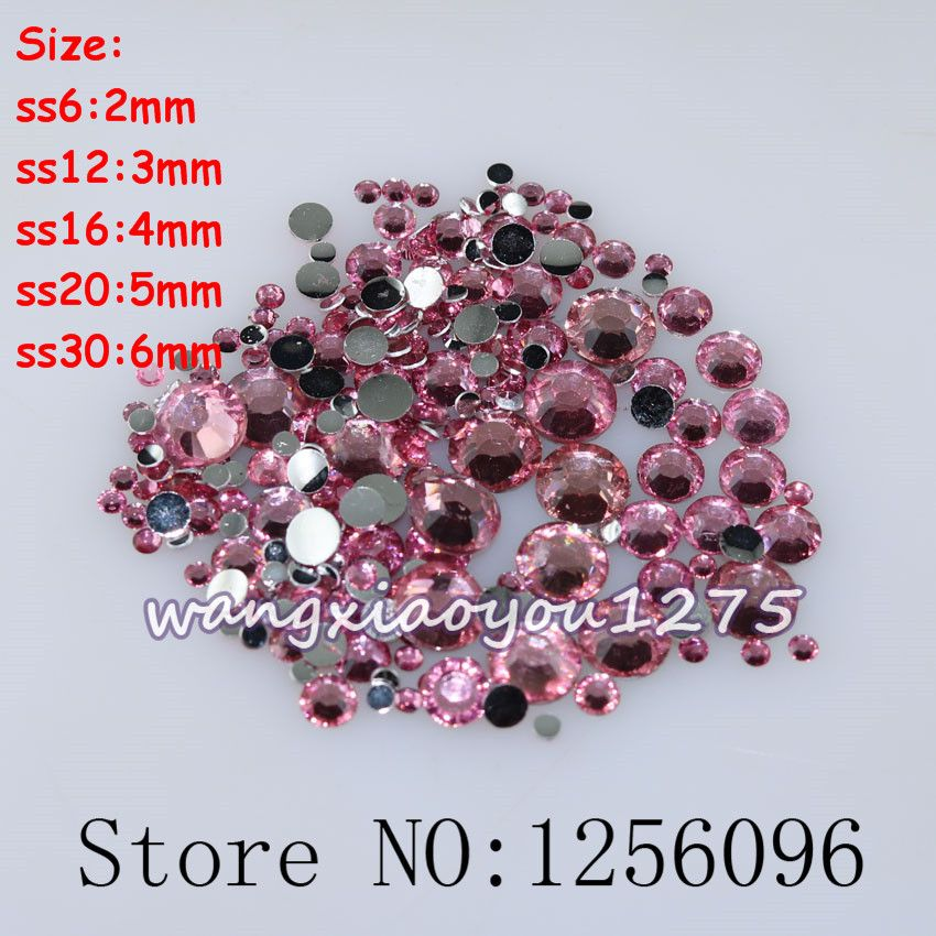 091615381c 100-1000pcs/bag,Nail Art,SS6/12/16/20/30,Dark pink resin flatback ...