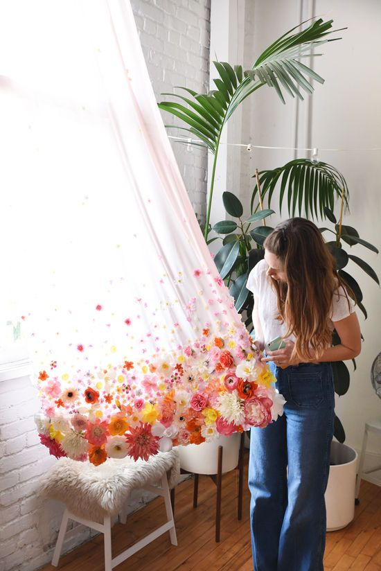 DIY Blumen Gardine l floral curtains #diycurtains