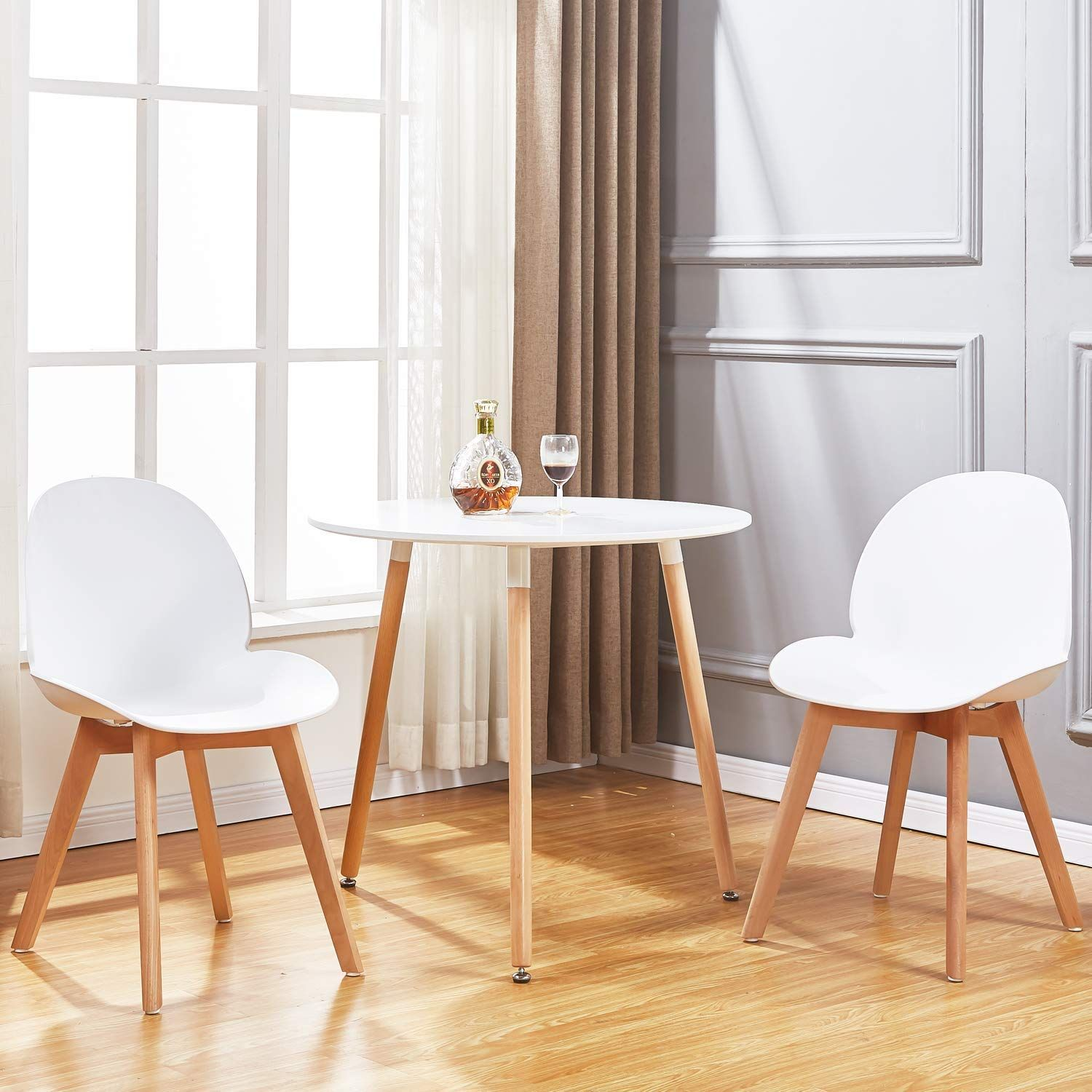 c9252736af0d GreenForest Dining Table White Modern Round Table with Wood Legs for Kitchen  Living Room Leisure Pedestal Table -- Want to know more