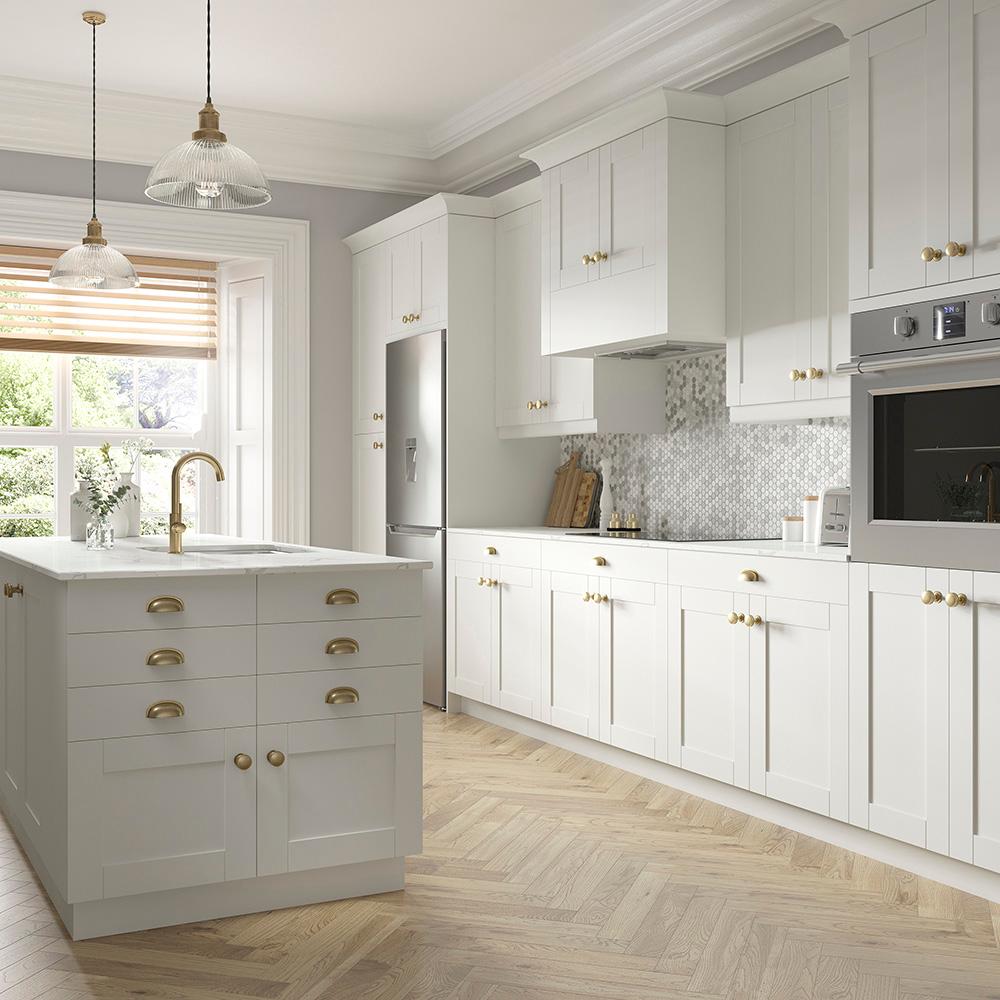 Shaker Base Cabinets In Vanilla White Kitchen The Home Depot Grey Kitchen Cabinets Kitchen Cabinets Dream Kitchen Layout