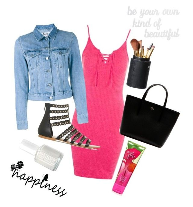 """""""Pink! #pink"""" by bellafawxo on Polyvore featuring Topshop, Acne Studios, Essie, Lacoste and PBteen"""