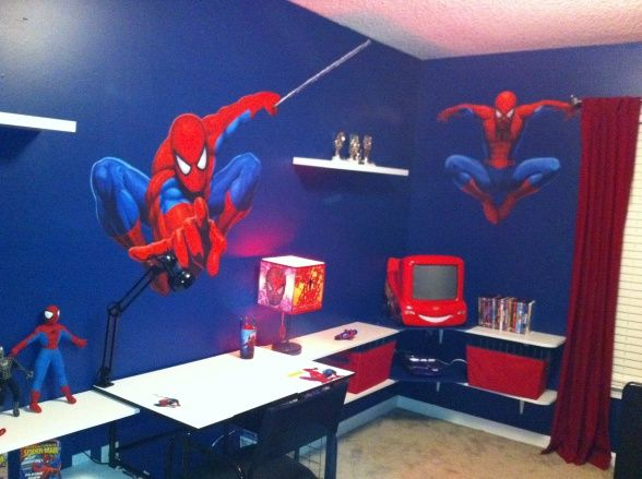 Love this wall colour and the curtains cuarto de peques for Dormitorio spiderman