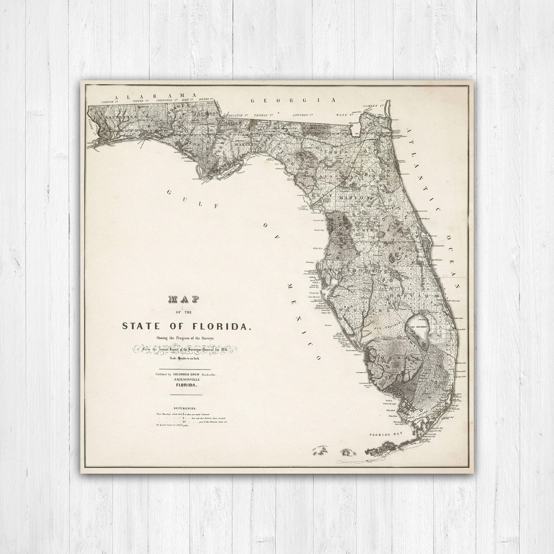 Florida On Us Map.Map Of Florida Florida Canvas Map Florida State Map Antique