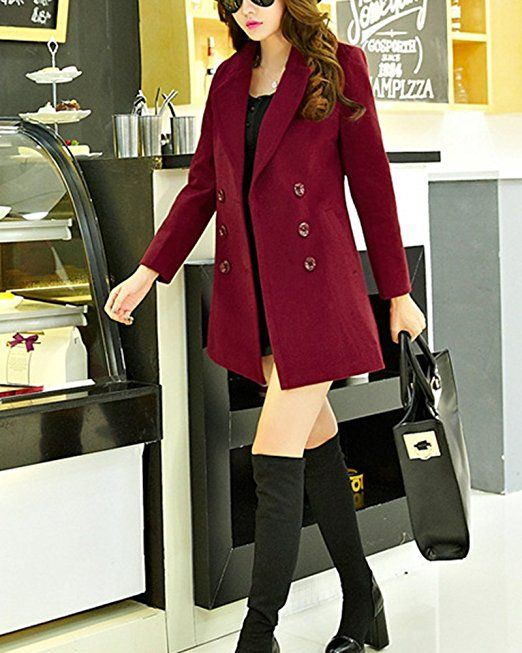 on sale 73a65 02688 Damen Doppelseitig Wintermantel Trenchcoat Doppel breasted ...