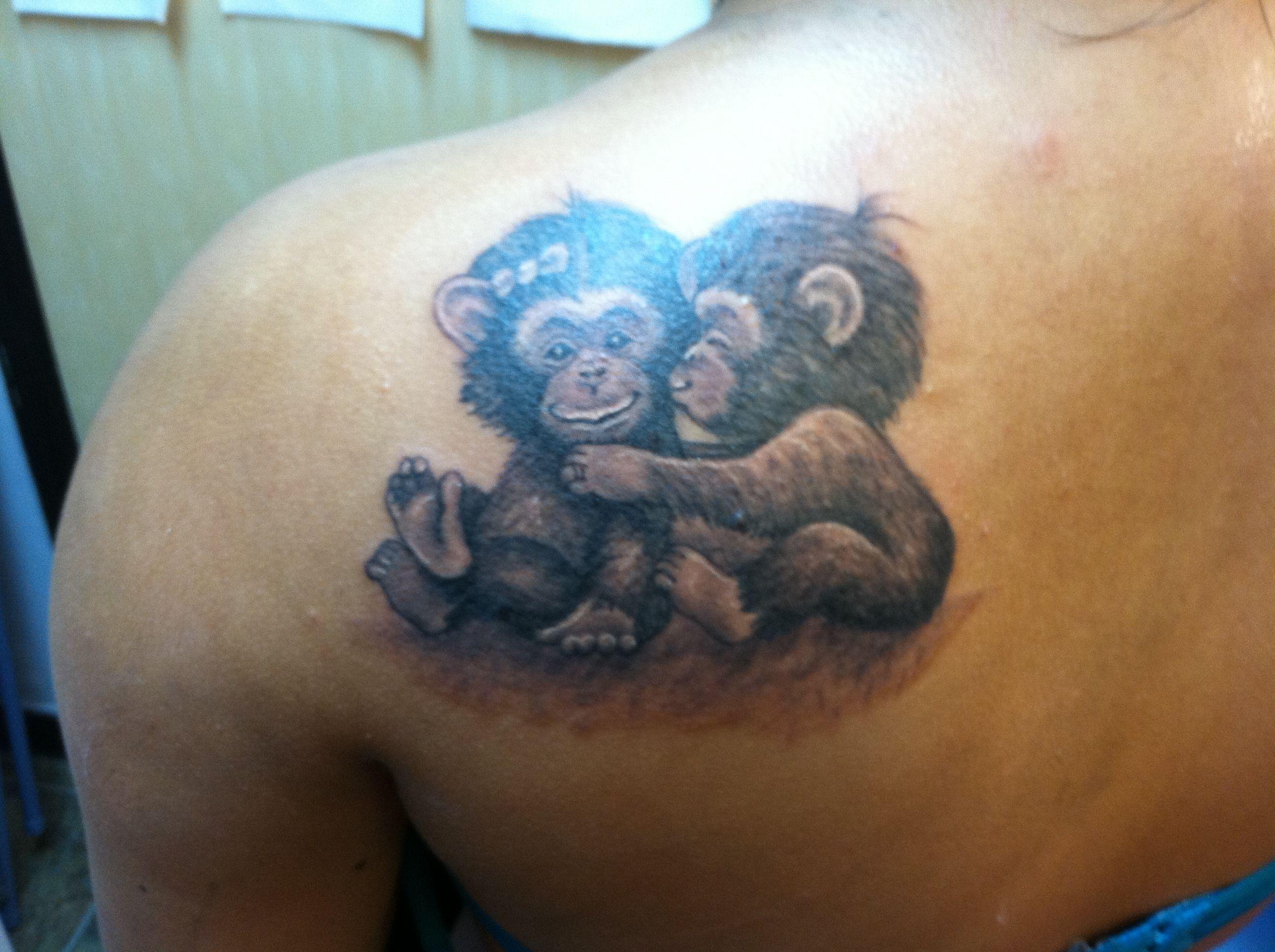 Cute cartoon realistic monkey tattoo tattoo pinterest for Baby monkey tattoos