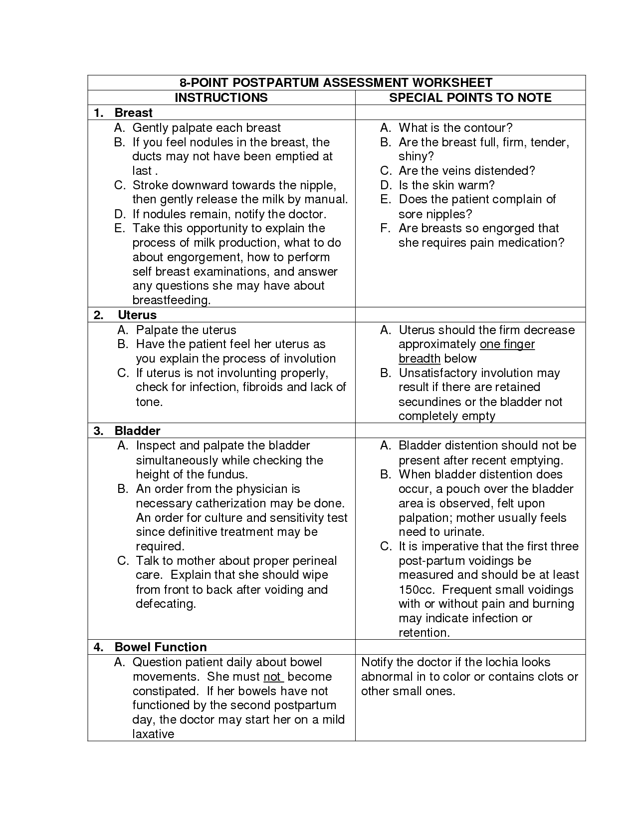 Postpartum Nursing Worksheet
