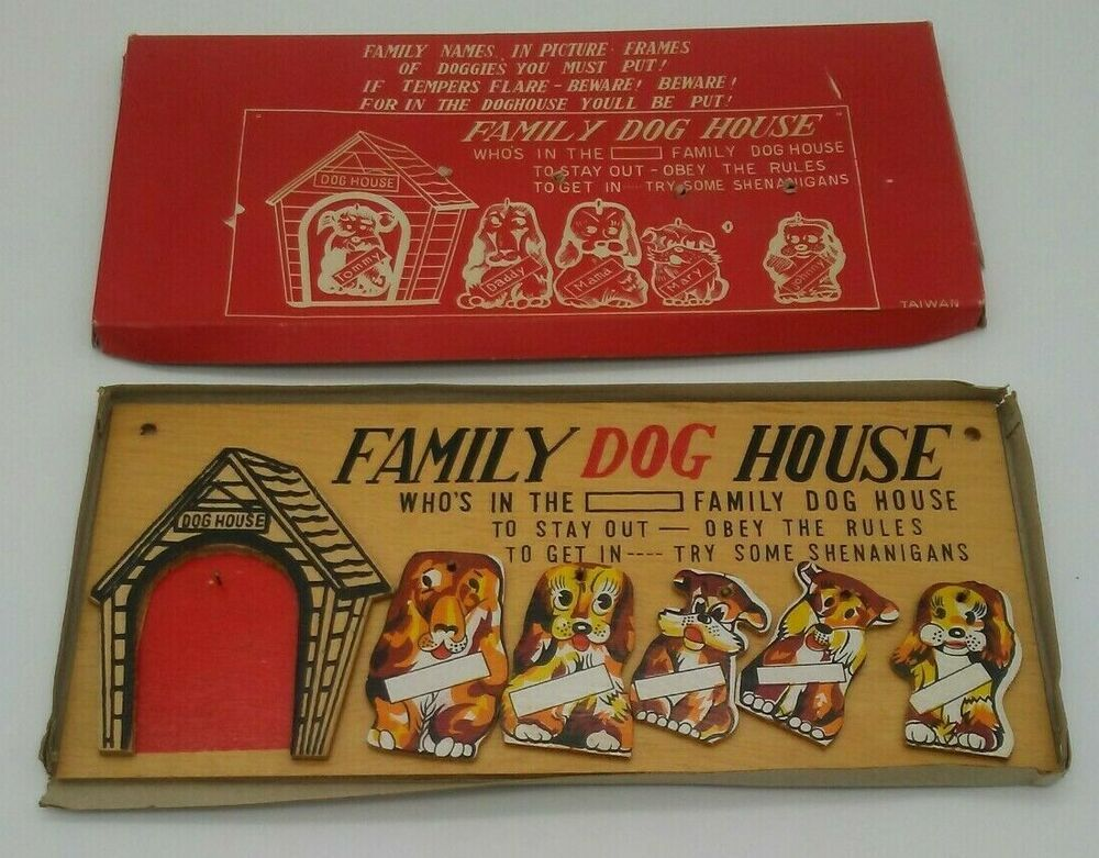 Vintage Family Dog House Wall Hanging Plaque In Original Box