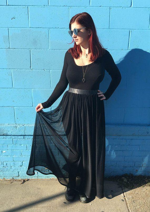 bd87a246bd43 Sheer maxi skirt, long black skirt, see through skirt, high waisted maxi  skirt
