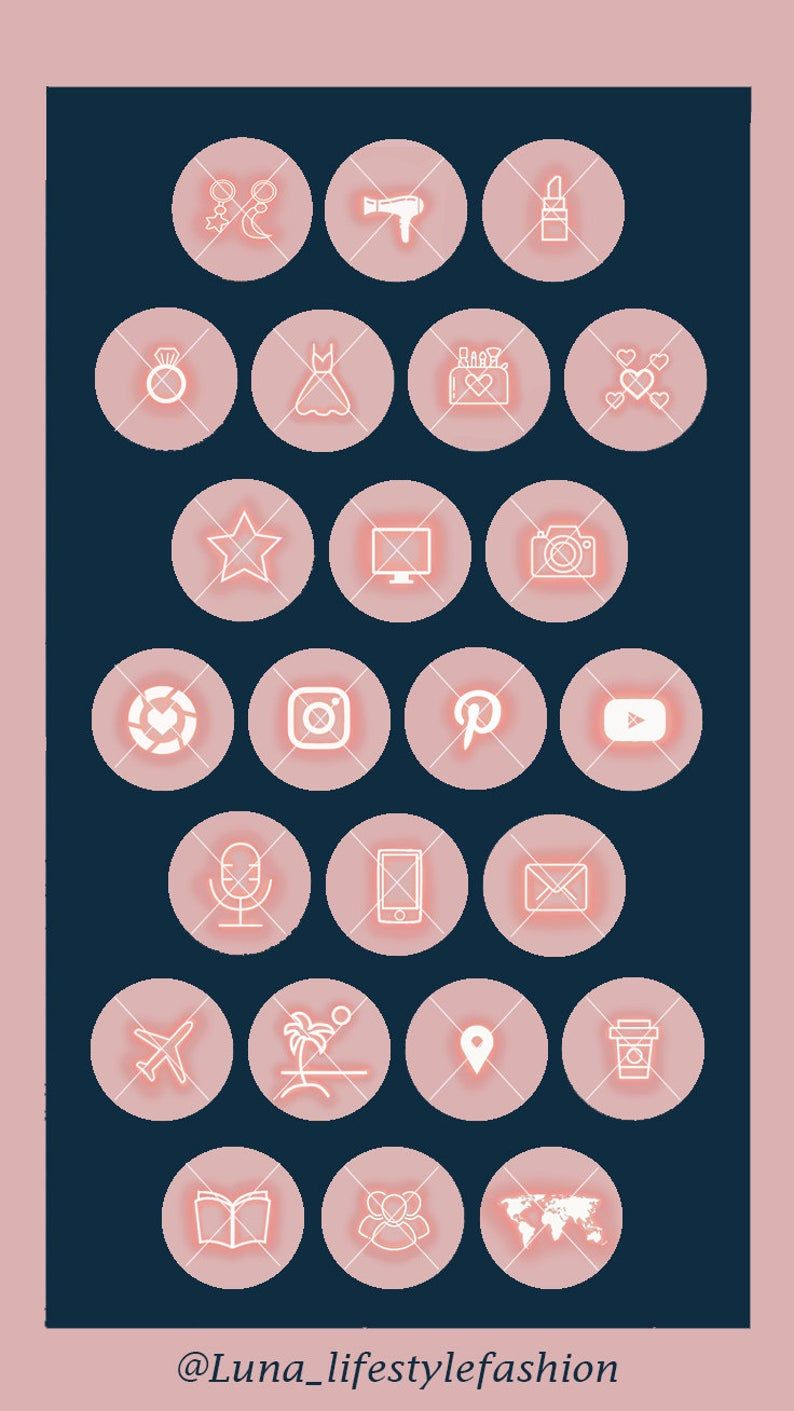 53 Pink neon theme Instagram Highlight Covers Highlight