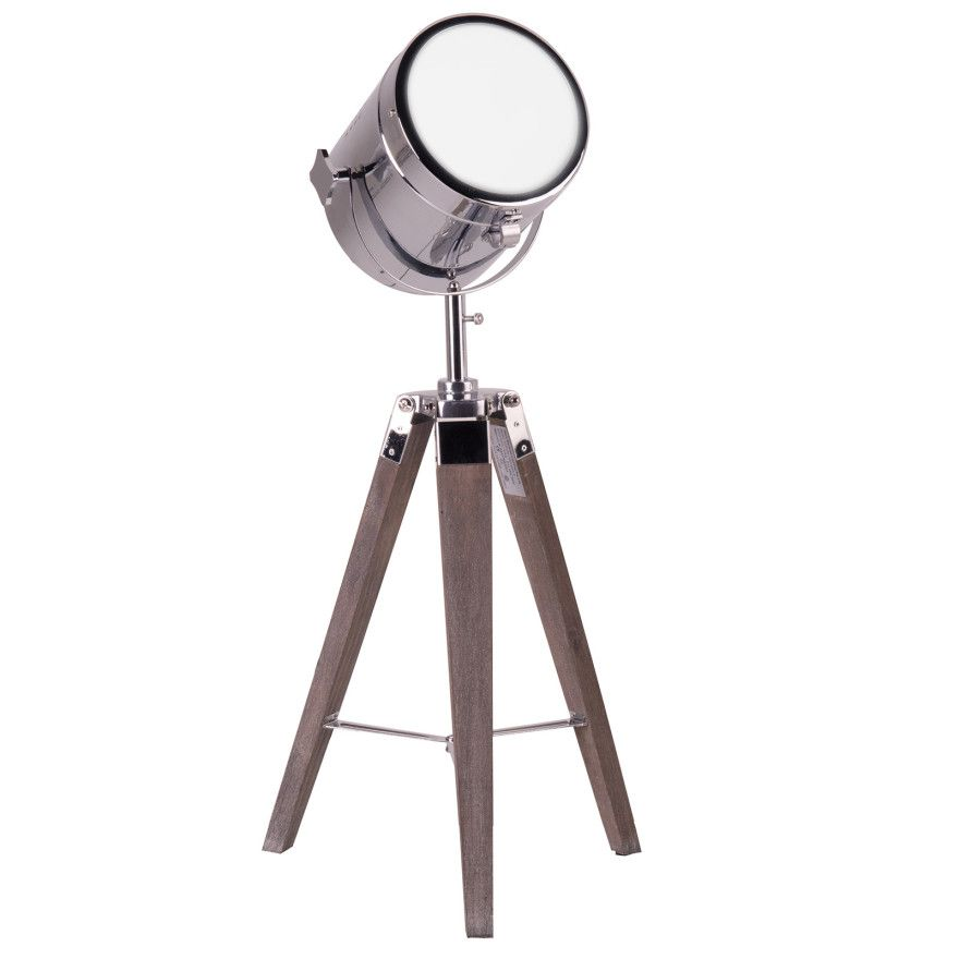100 tripod spotlight table lamp theatre style light with wooden tripod stand adjustable. Black Bedroom Furniture Sets. Home Design Ideas