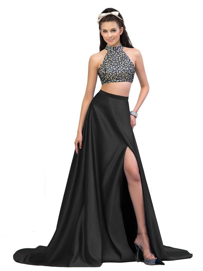 Sisjuly womenus two pieces high neck beaded split side prom gown at