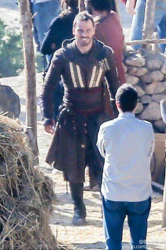 Michael Fassbender on set- Assassin's Creed