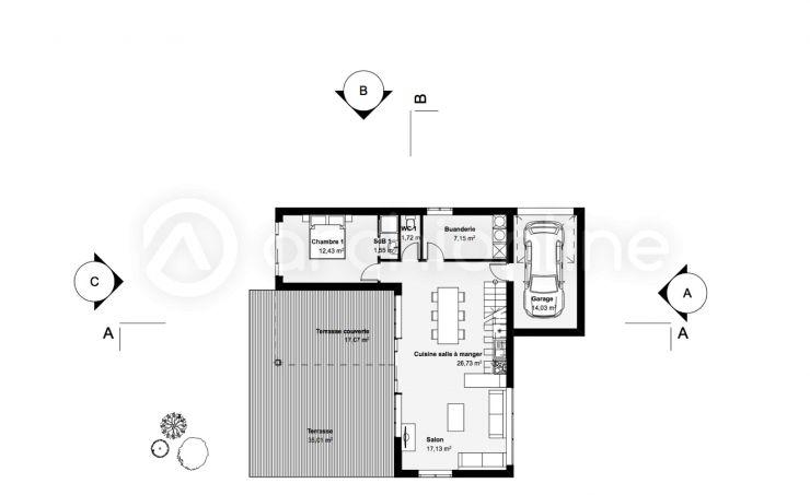 Maison Fastyle - Plan de maison Moderne par Archionline Plans