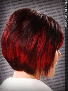 hair color with bright red highlights