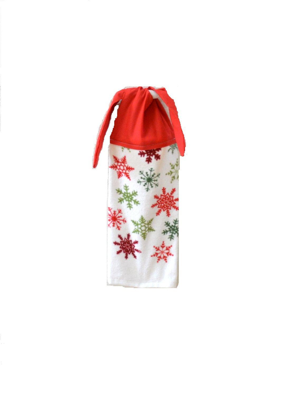 Snowflake Dish Towel, Kitchen Hand Towel, Hanging Towel, Tie On Towel, Towel
