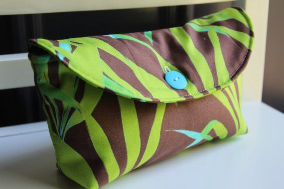 Cotton Clutch  Daily Handbag Makeup Bag Small Travel Bag by LOTCP, $14.00