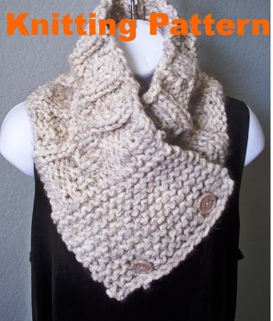 short scarf patterns | Knitting Pattern Men\'s Chunky Button Scarf by ...