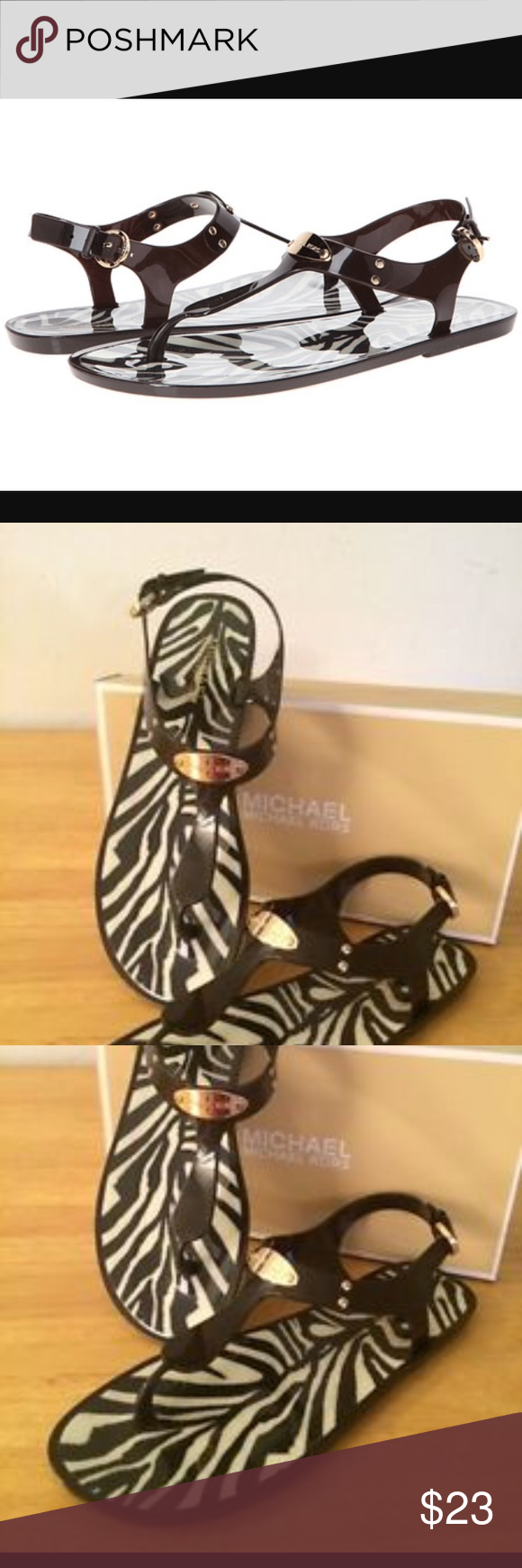 Michael Kors Brown Jelly Sandals Gold Tone Plate Sandals. In very good condition. A few scratches on the plate of the right shoe. Other than that, shoes were well taken care of. Wore them twice. I'm just not a big fan of having anything between my toes. Michael Kors Shoes Sandals