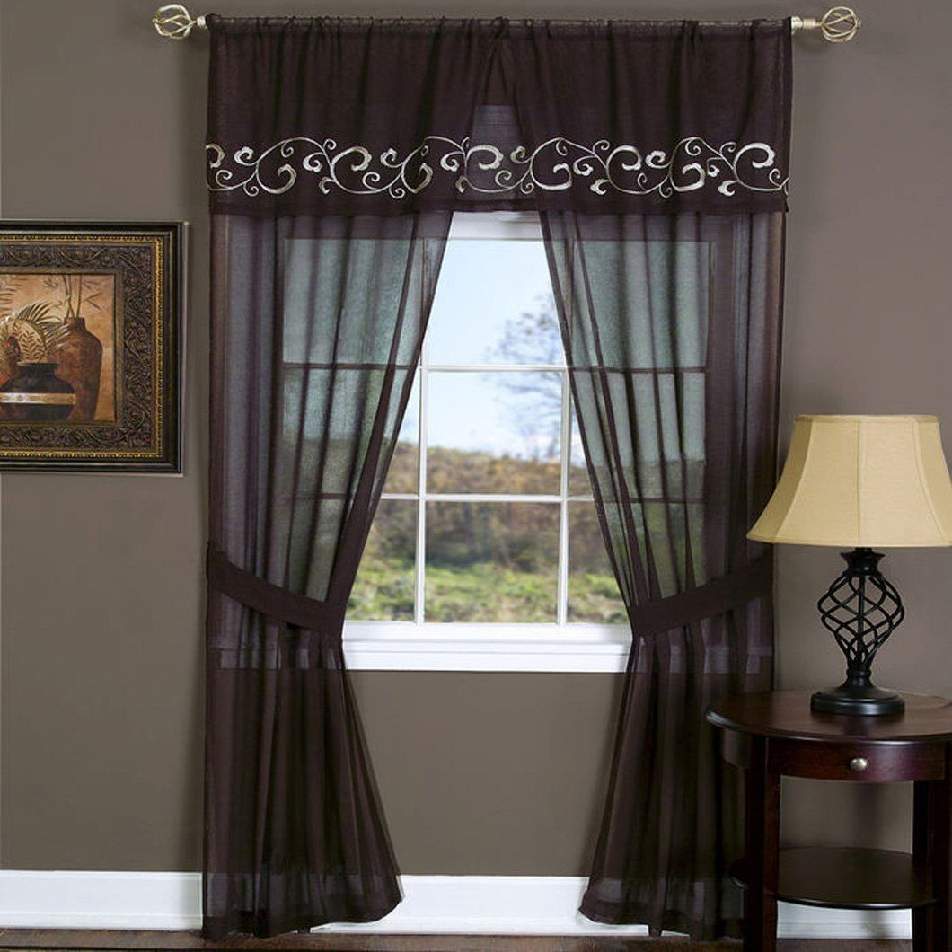 Peach Couture Deluxe 5 Piece Window Curtain Set Sheer Swirley Vine