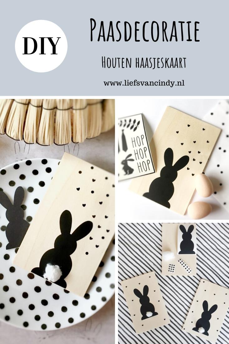 DIY Paasdecoratie - Houten haasjeskaart - Liefs van Cindy