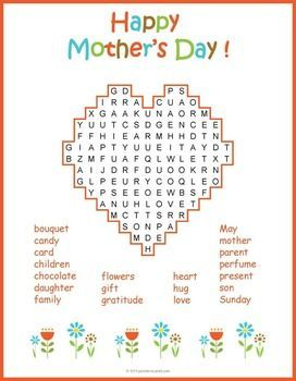 Mother S Day Word Search All Things Educational Mother S Day