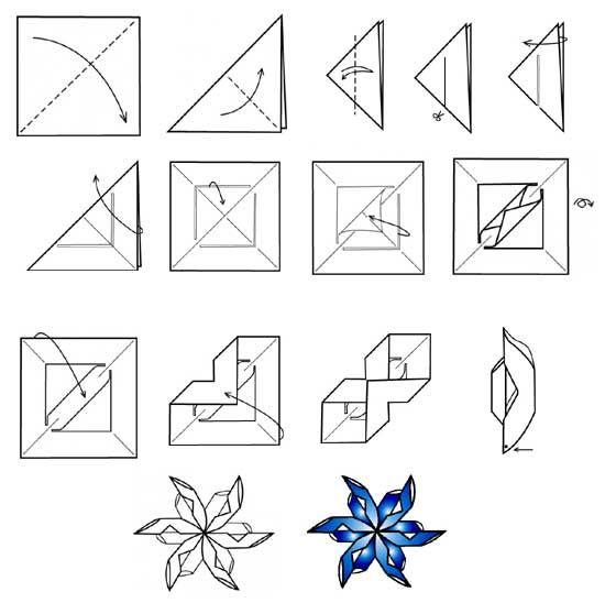 Поделки из бумаги снежинки с инструкцией 5