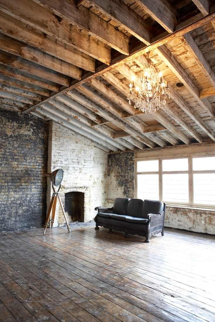 Perfect Space Exactly My Taste Open Brick Walls Wooden Ceiling And Floors Big Windows Stunning Inter Studio Room Warehouse Living Architecture