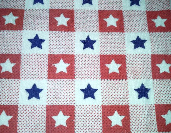USA double kitchen towel with stars by jostowelcrafts on Etsy, $10.00
