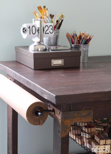 Charming DIY Craft Table: Vintage Industrial Cart Inspired Craft Table