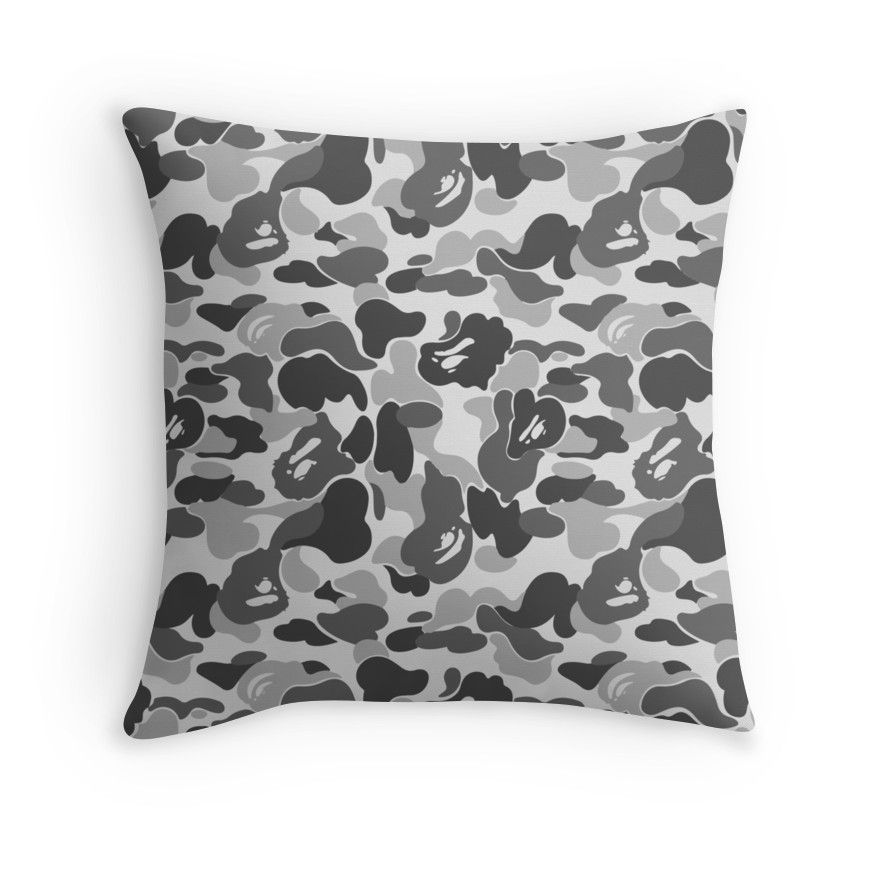 Bape Camo Greyscale Black And White Throw Pillow