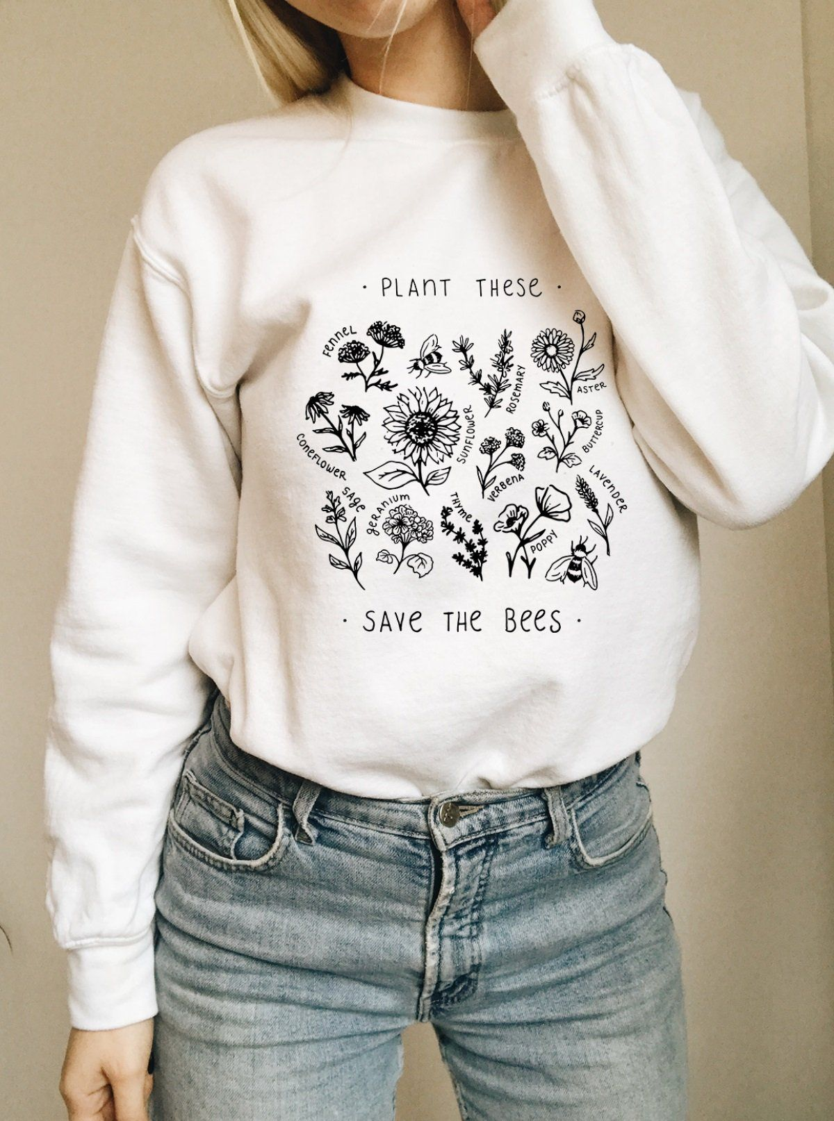 a11263a05 Plant These, Save The Bees - Crew Sweatshirt - Wholesome Culture Crew  Sweatshirts, Save