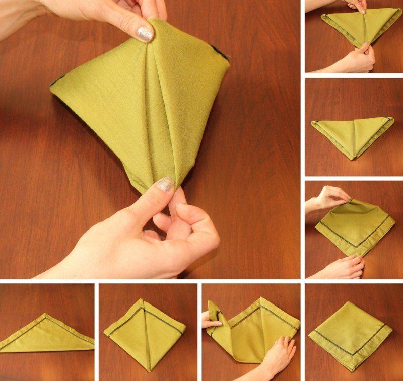 Servietten falten zu weihnachten die klassische pyramide - Serviettenfalttechnik anleitung ...