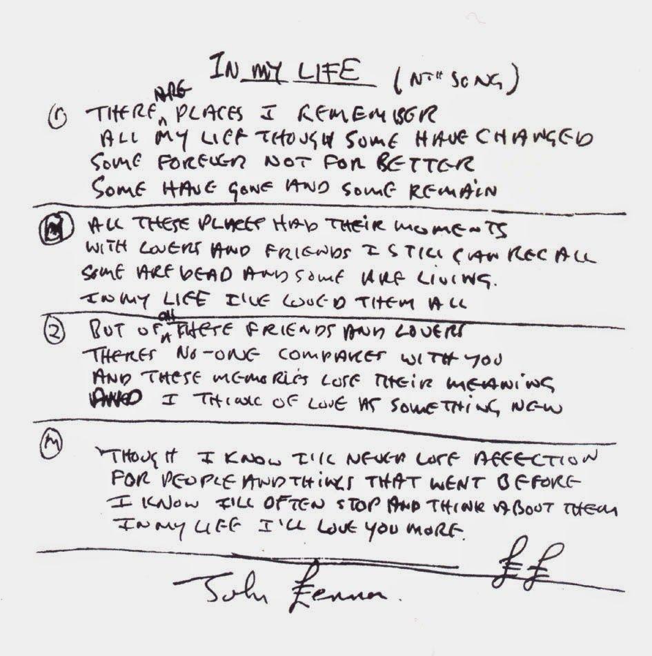 Depapel Manuscritos Canciones De Los Beatles Letras De Canciones Beatles