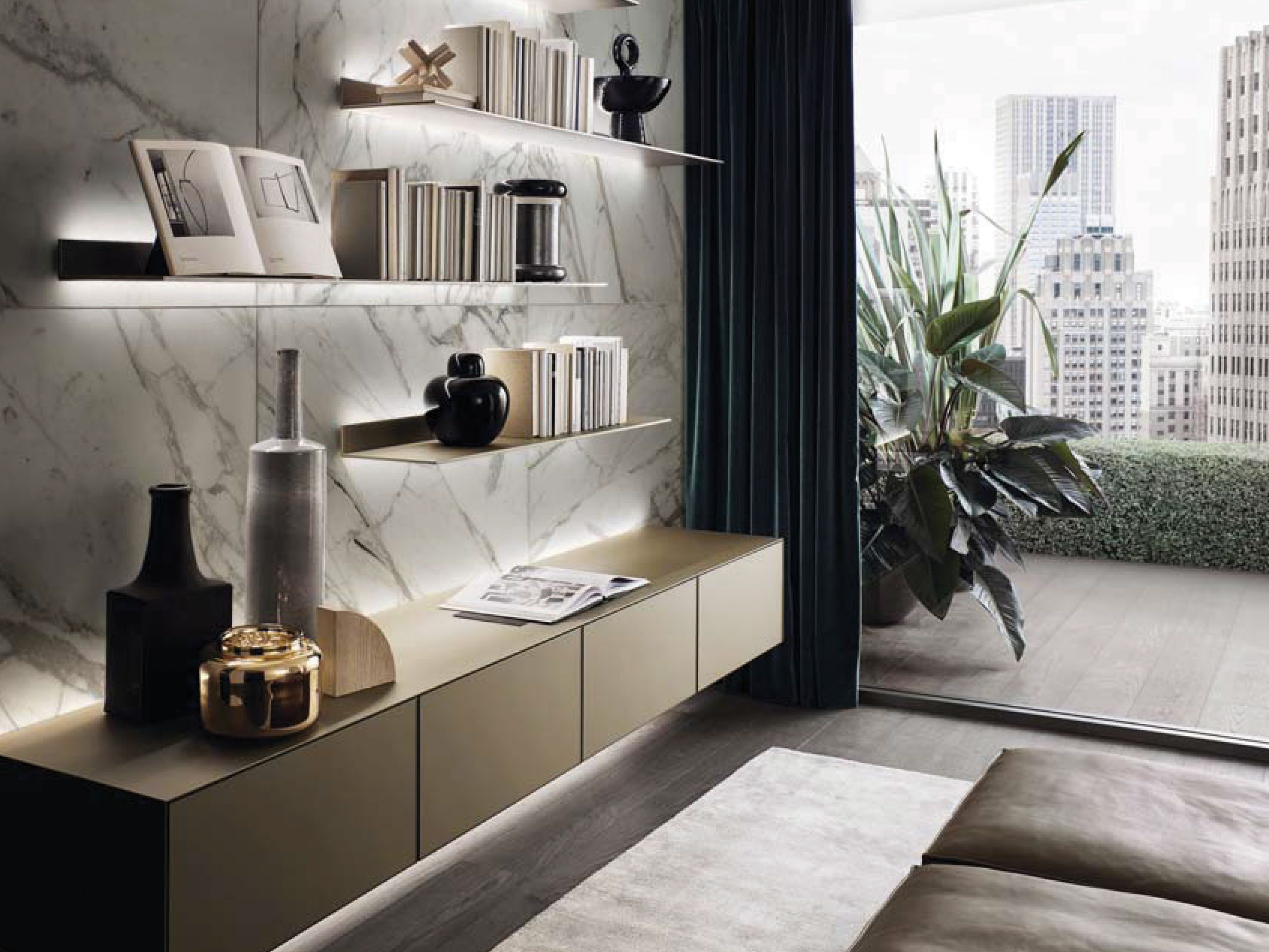 Rimadesio Eos Illuminated Shelves And Self Floating Cabinet  # Fabricante Muebles Eos