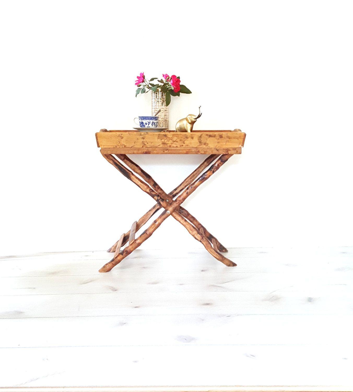 Vintage Bamboo/ Wood Folding Tray Table ~ Bar Cart ~ Serving Tray