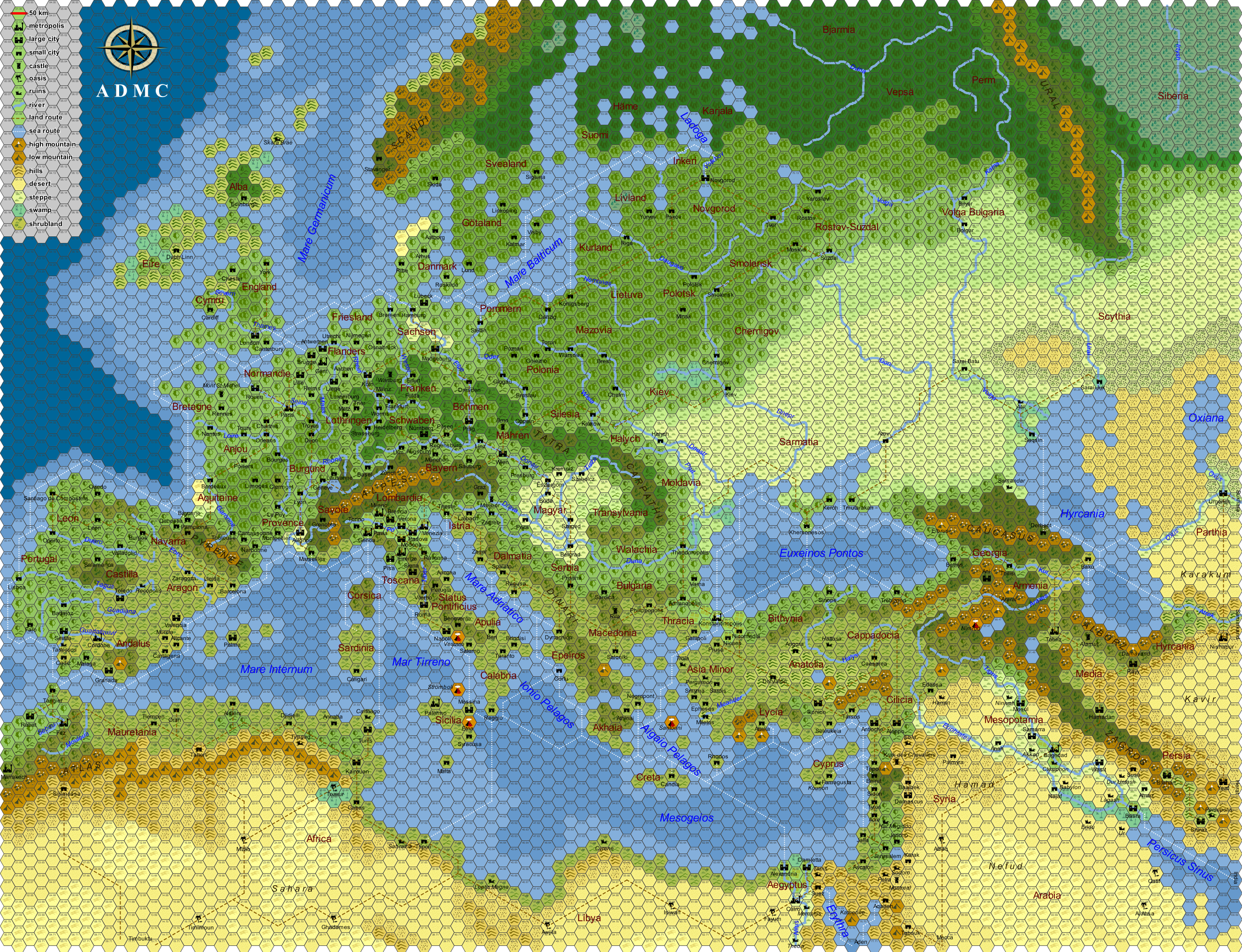 Large Hexmap Of 12th Century Europe 26482030 Maps And Mapping