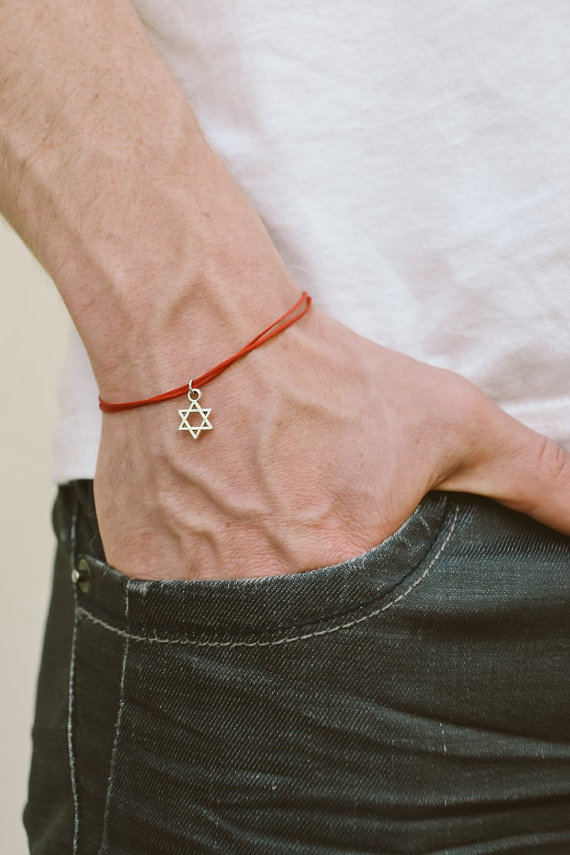 pas cher procédés de teinture minutieux dessins attrayants Dangle Star of David men's bracelet, silver, gift for him ...