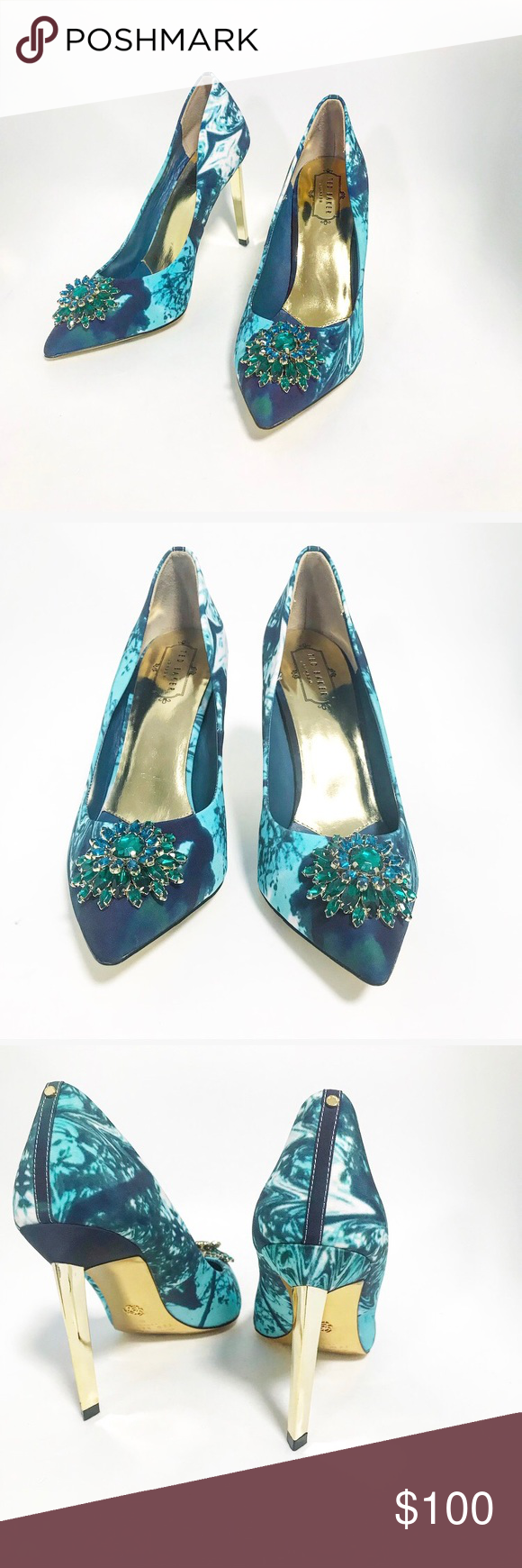 a810c445f5a2b6 Ted Baker. Bejeweled brooch heels. Aqua blue and green. Gold bottoms. Brand  new! no box or bag. Abstract ocean print size 40 10 Ted Baker London Shoes  Heels