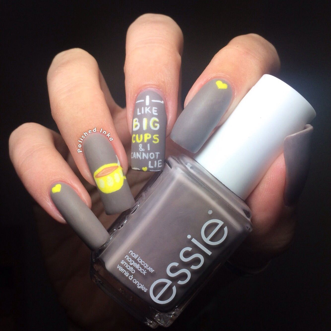 Polished Inka - I Like Big Cups Nail Art