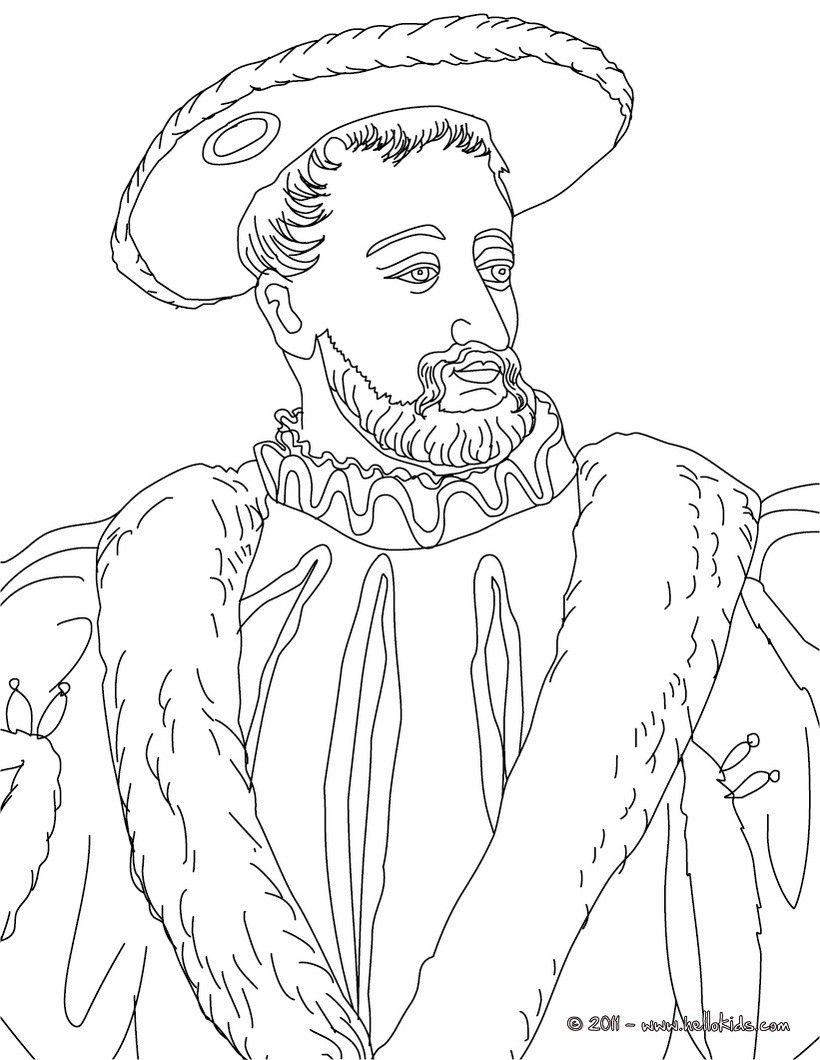 Colouring in kings and queens - Francis I King Of France Coloring Page