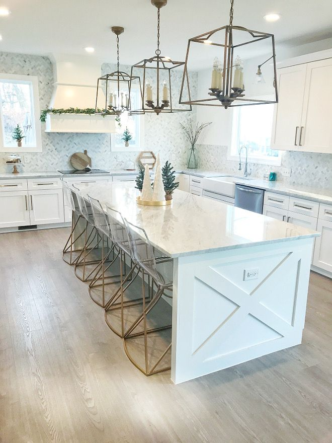 modern farmhouse kitchen with x detail on island ends and side of fridge cabinet kitchen with x on kitchen island ideas modern farmhouse id=29056