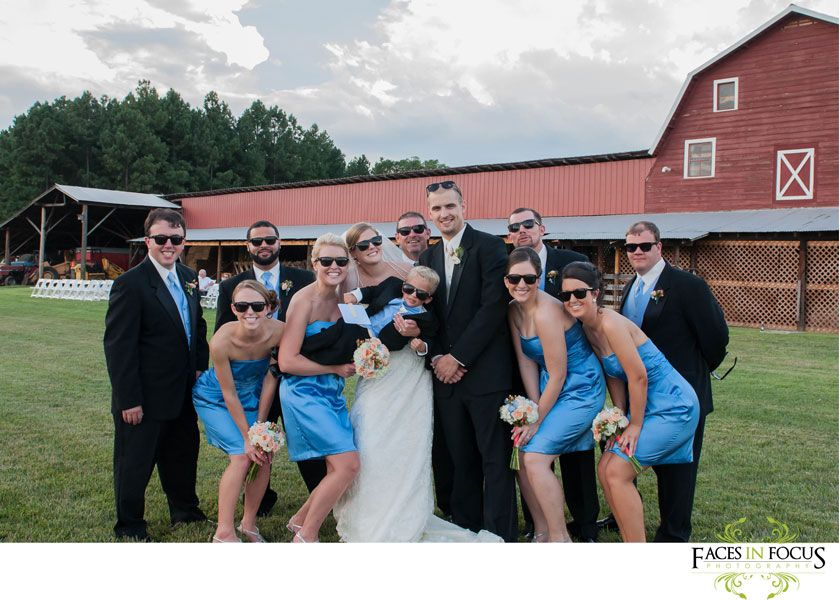 Bridal party pose with sunglasses behind the Hayloft | Wedding Party ...