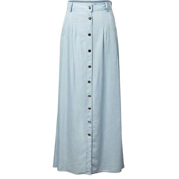 Chicnova Fashion High Waisted Maxi Denim Skirt (200 SEK) ❤ liked on Polyvore featuring skirts, long denim skirts, high waisted maxi skirt, blue skirt, denim maxi skirt and long blue maxi skirt