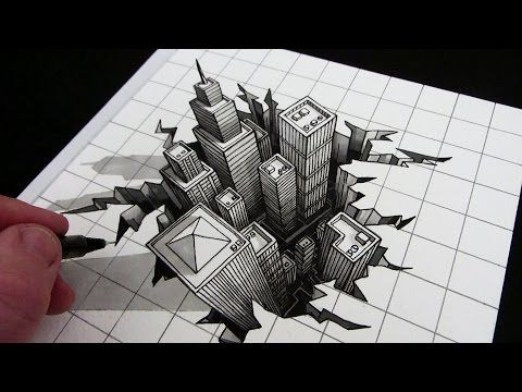 How to Draw a Hole: 3D City Illusion - YouTube
