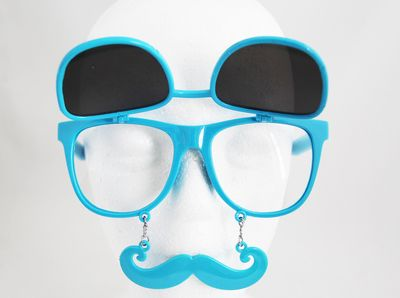 a52fa7872b Private Island Party - Flip Up Mustache Sunglasses Blue 7400