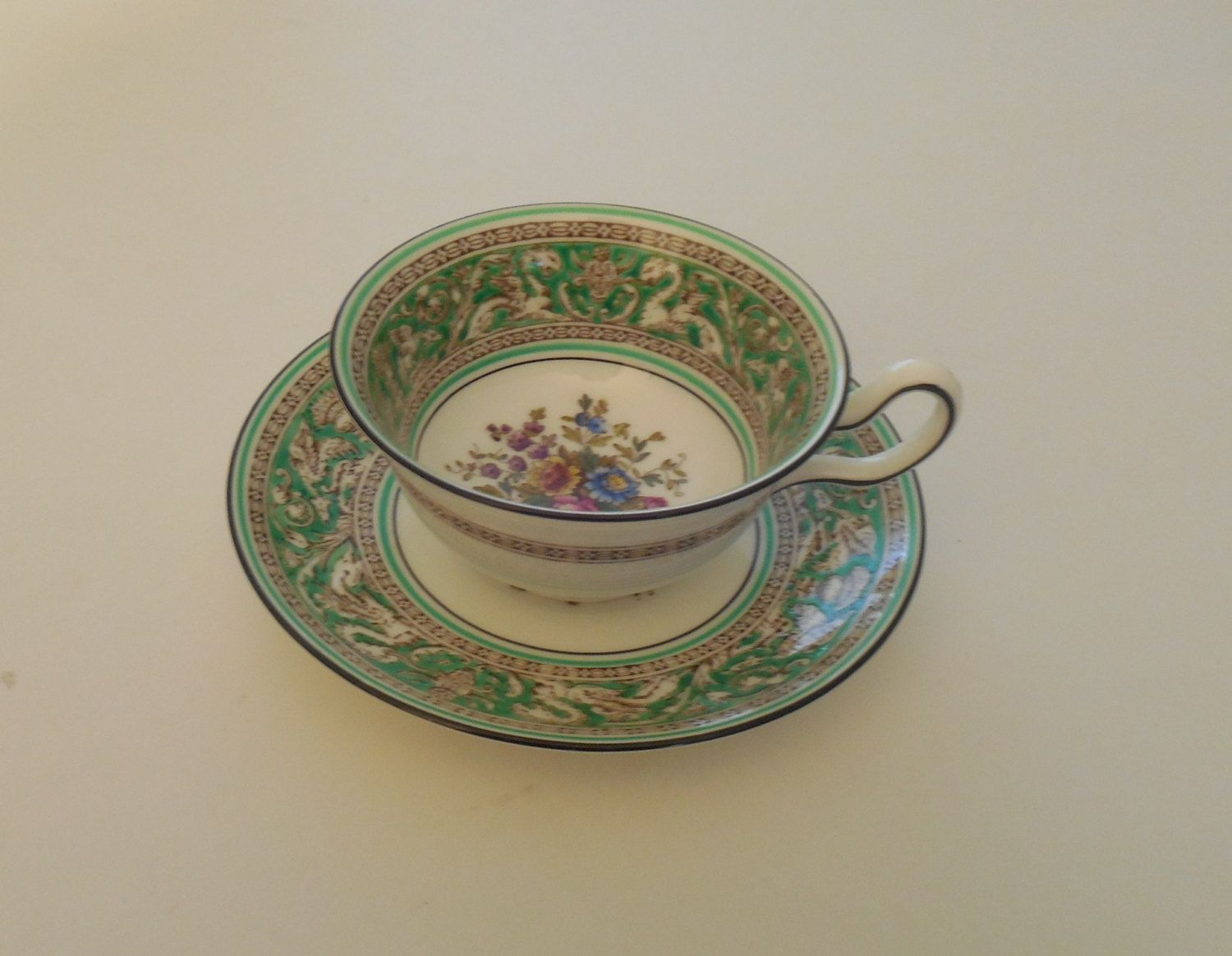 Vintage Wedgewood Bone China Florentine Green with Floral Bouquet Cup and Saucer by ItsALynn on Etsy