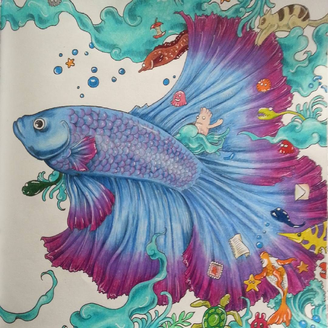 Colored Pencil Tutorial Drawings Pencils Fish Adult Coloring Books Colouring Art Betta