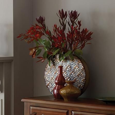 Global Fusion Collection Round Metal Leaf Vase | Dunelm | Decor ...