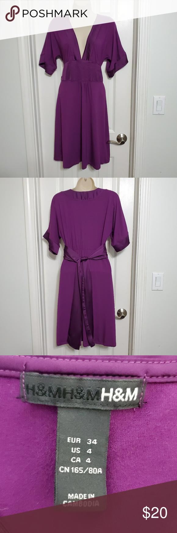 H M Purple V Neck Dress With Silky Trim Size 4 Clothes Design Fashion Colorful Dresses [ 1740 x 580 Pixel ]