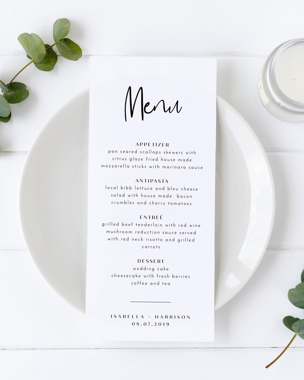 Willow - Modern Minimal Wedding Menu Template, 4x8 & 5x7 Wedding Menus, Printable Wedding Menu Simple, Instant Download Table Menu Templett #weddingmenutemplate